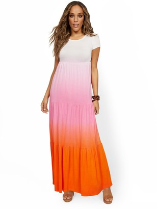 New York & Co. Tiered Ombre T-Shirt Maxi Dress