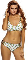 SunShine Day SunShine Crisscross Straps Pineapple Print Reversible 2pcs Swimsuit