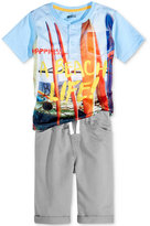 Nannette 2-Pc. Graphic-Print Henley and Shorts Set, Toddler and Little Boys (2T-7)