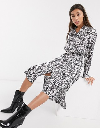 AllSaints anya plume wing midi shirt dress