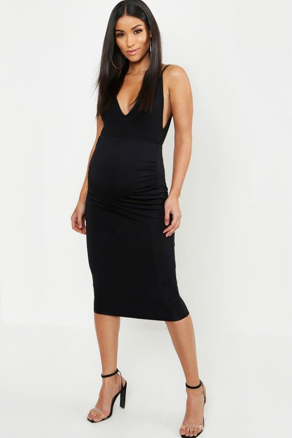 Maternity Over The Bump Hold In Midi Skirt