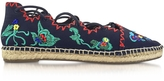 Tory Burch Sonoma Tory Navy Embroidered Ghillie Canvas Flat Espadrilles