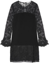 Diane von Furstenberg Lavana Silk Chiffon-trimmed Lace And Crepe Mini Dress - Black