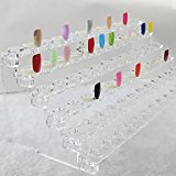 QINF 72 Tips Nail Art Tips Showing Stand ABS Plastic Transparent(31x12x11cm)