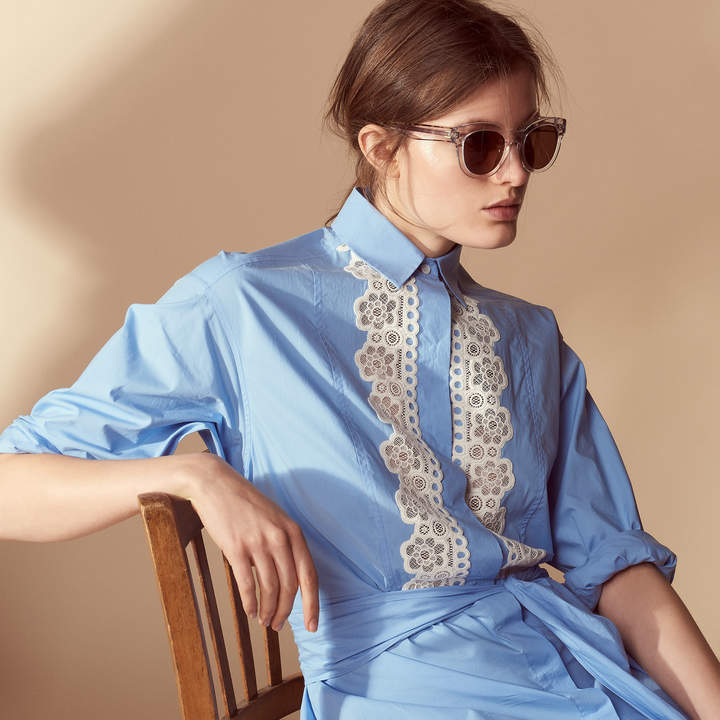 Sandro Shirt dress with lace inserts
