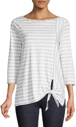 Jones New York Tie-Front Striped Cotton Top
