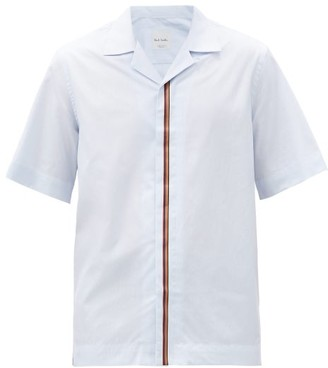Paul Smith Artist-stripe Cotton-poplin Short-sleeved Shirt - Light Blue