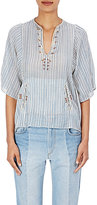Etoile Isabel Marant Women's Joy Embroidered Cotton Swing Top-BLUE