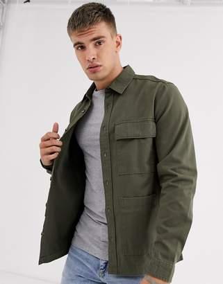 Burton Menswear overshirt in khaki-Green