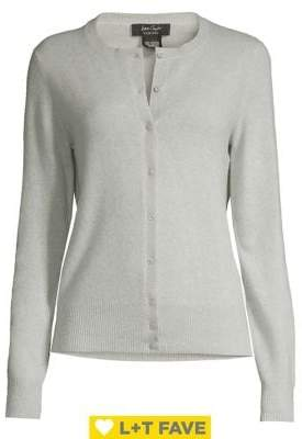 Lord & Taylor Button Front Essential Cashmere Cardigan