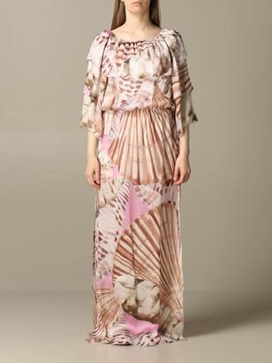 Blumarine Dress Long Dress In Printed Silk Twill