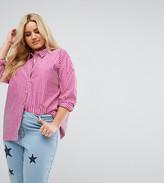 Daisy Street Plus Shirt In Pinstripe