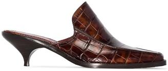 Sies Marjan Kaya 50mm croc-embossed leather mules
