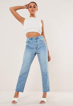 Missguided Light Blue Co Ord Wrath Raw Hem Highwaisted Straight Jeans