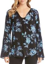 Karen Kane Embroidered Bell-Sleeve Top