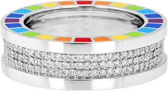 Aisha Baker Me 18K White Gold Diamond and Enamel Ring