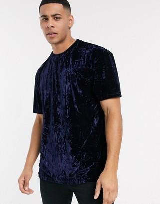 Topman velvet t-shirt in navy