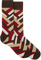 Barneys New York MEN'S CHEVRON-PATTERN COTTON-BLEND MID-CALF SOCKS-BROWN