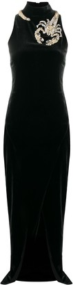 Balmain Scorpion embellished velvet dress