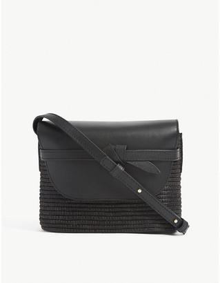 Leather and raffia cross-body bag