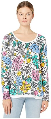 Fresh Produce Sketched Flora Byron Long Sleeve Top (White) Women's Clothing