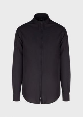 Emporio Armani Full-Zip Shirt In Seersucker Fabric