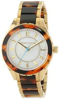 Kenneth Jay Lane Women's KJLANE-2202 Mother-Of-Pearl Dial Gold Ion-Plated Stainless Steel and Brown Tortoise Resin Watch