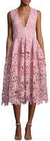 Nicholas Bellflower Guipure Lace Sleeveless V-Neck Ball Dress, Pink