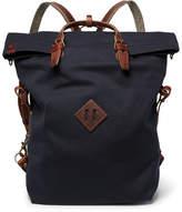 Bleu de Chauffe - Convertible Leather-trimmed Canvas Backpack - Navy