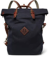 Bleu de Chauffe - Convertible Leather-Trimmed Canvas Backpack