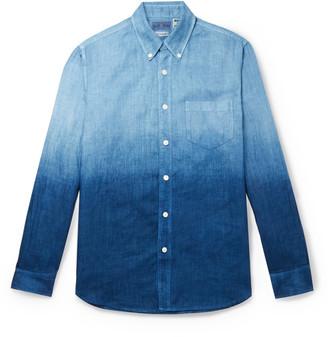 Blue Blue Japan Slim-fit Indigo-dyed Two-tone Linen-chambray Shirt - Blue