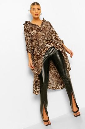boohoo Leopard Print Oversized Maxi Shirt