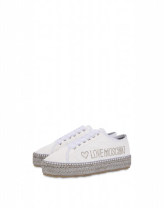 Love Moschino Espadrilles In Nappa Leather With Studded Logo Woman White Size 35