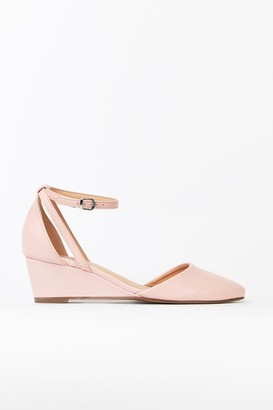 Wallis Pink Ankle Strap Pointed Wedge