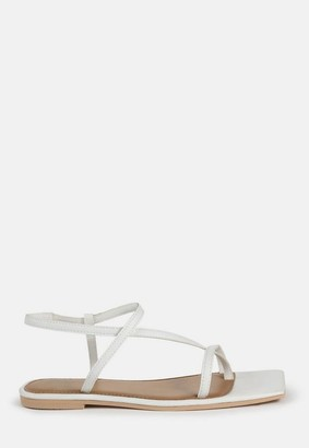 Missguided White Toe Post Strap Flat Sandals