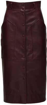 Alberta Ferretti High Waist Leather Pencil Skirt