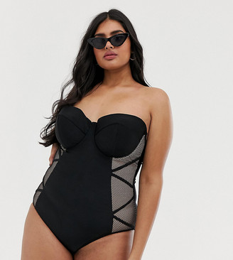 Playful Promises Hunter McGrady x mesh insert fishnet swimsuit