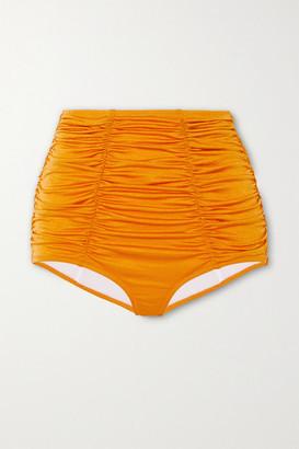 Dodo Bar Or Emma Metallic Ruched Bikini Briefs - Orange