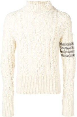 Thom Browne 4-bar Aran Cable Cashmere Turtleneck