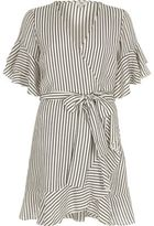 River Island Womens Cream and navy stripe frill sleeve tea dress