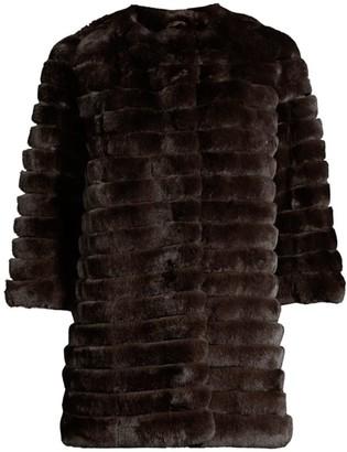 Glamour Puss Rabbit Fur Three-Quarter Sleeve Corded Coat