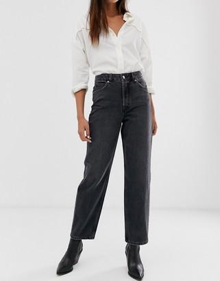 Selected high waist straight leg gray jeans
