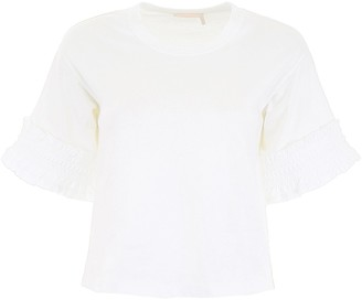 See by Chloe Ruffle Sleeves Cropped T-Shirt