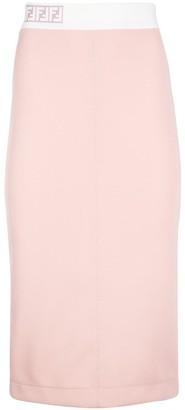 Fendi FF Embroidered Pencil Skirt