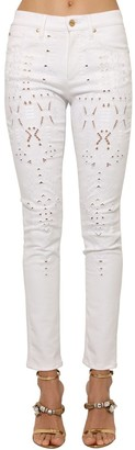 Roberto Cavalli Embroidered Stretch Denim Skinny Jeans