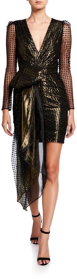 HANEY Simone Metallic V-Neck Long-Sleeve Drape Front Mini Dress