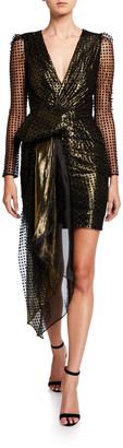 HANEY Simone Metallic V-Neck Long-Sleeve Drape Front Mini Dress