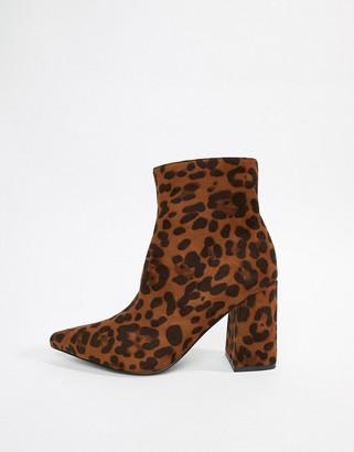 Public Desire Empire leopard print block heeled ankle boots