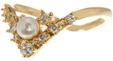 Melinda Maria Kendall Pearl & CZ Cluster V-Shaped Ring - Size 6