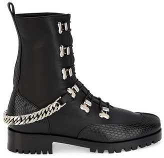 Christian Louboutin Horse Chain-Trimmed Leather Combat Boots